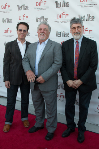 Johnathan Brownlee, CEO & President of Dallas Film/Executive Director of Dallas International Film Festival, Bruce McGill and John Landis at the 2018 Dallas International Film Festival. (Courtesy of Selig Polyscope Company)