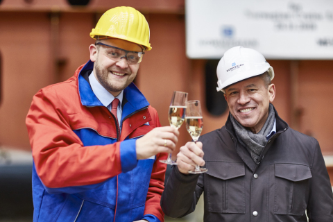 Tim Meyer and Andy Stuart at Norwegian Encore Keel Laying Ceremony (Photo: Business Wire)