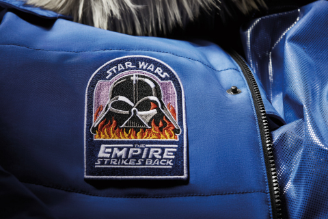Close up of the fiery Darth Vader chest patch on the Star Wars™: Empire Crew Parka. (Photo: Business Wire)