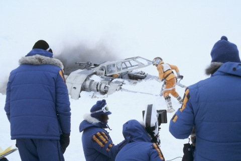 Behind-the-scenes photo showing the original Empire Crew Jackets while filming on location in Norway, circa 1979.(Photo: Business Wire)
