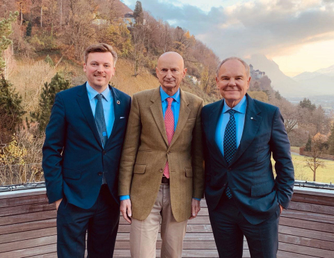 From left to right: LCX CEO Monty Metzger, Prince Michael of Liechtenstein, and BRI Founder Don Taps ...