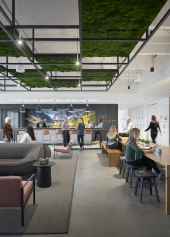 Western Union's new global headquarters in Denver, Colorado features collaborative work spaces and community hubs. (Photo Credit: Gensler/Ryan Gobuty)