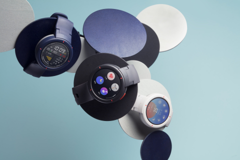 Amazfit Verge is available in Twilight Blue, Shadow Grey and Moonlight White. (Photo: Business Wire)