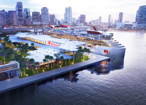ヴァージン・ヴォヤージュが、2021年にヤシの木立をモチーフにした新ホーム・ターミナルをマイアミ港に開設する計画を発表。(写真:ビジネスワイヤ)