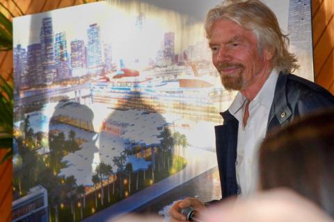 ヴァージン・グループ創設者のサー・リチャード・ブランソンは、マイアミ港に新しく開設されるヴァージン・ヴォヤージュ用ターミナルの計画を発表しました。(写真:ビジネスワイヤ)