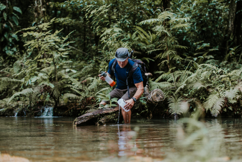 This traveler demonstrates the easy-to-use GRAYL GEOPRESS by collecting water from a river in Guatemala, providing 24 ounces of clean, safe drinking water in just eight seconds. (Photo: Kyle Murphy, @BriskVenture)