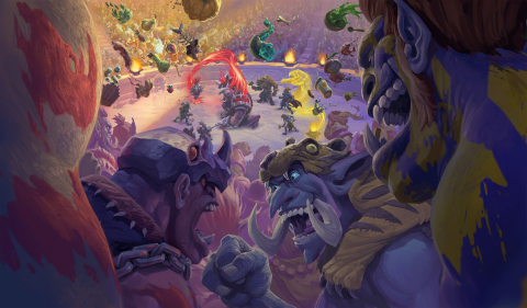 Fight for glory, honor, and a roaring crowd in Rastakhan's Rumble™, the newest expansion for Blizzard Entertainment's Hearthstone®. (Graphic: Business Wire)