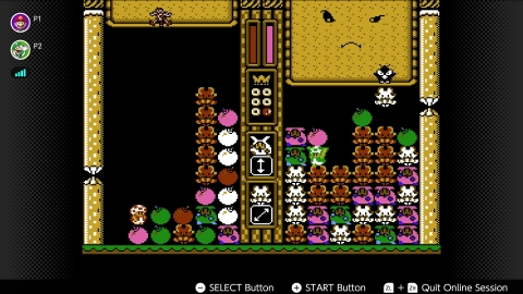 In Wario's Woods, control Toad as he scrambles along the bottom of the screen picking up monsters and bombs and arranging them vertically, horizontally and diagonally to clear the screen of enemies. (Graphic: Business Wire)