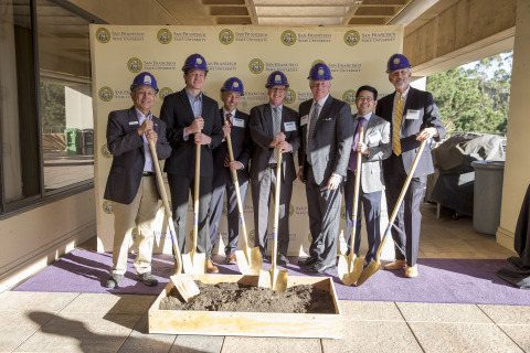 Representatives from SF State, American Campus Communities, and the project team celebrate the commencement of construction of the university's newest on-campus student housing. (Photo: Business Wire)