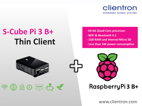 Clientron brand new S-Cube thin client running on Raspberry Pi 3 B+ (Photo: Business Wire)