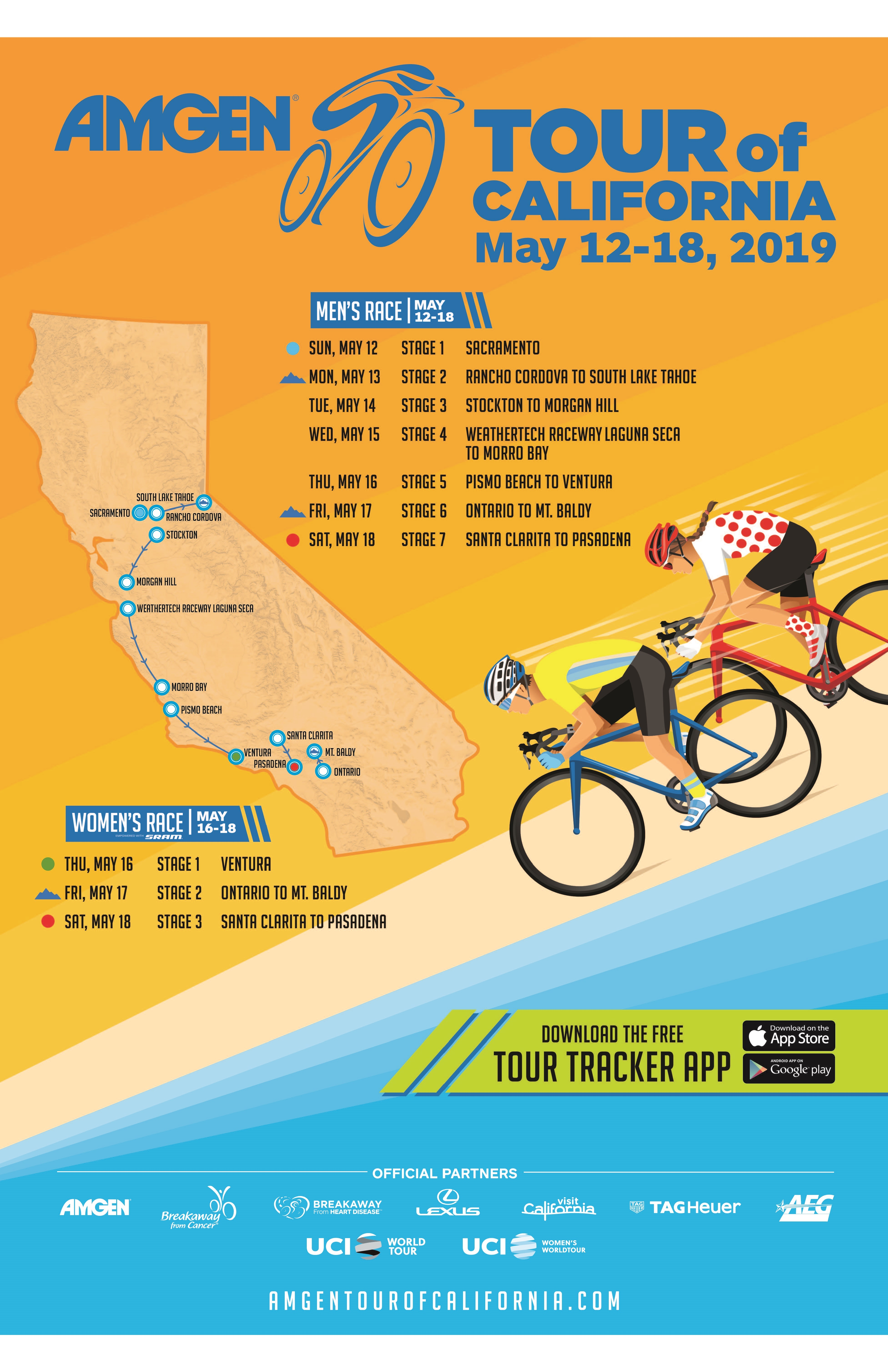 Amgen Tour Of California 2020 Route Amgen Tour of California 2019 Host Cities and Race Schedule