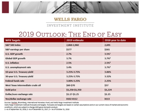 Wells Fargo Investment Institute: 2019 Outlook Will Mark 'The End of Easy' (Graphic: Business Wire)