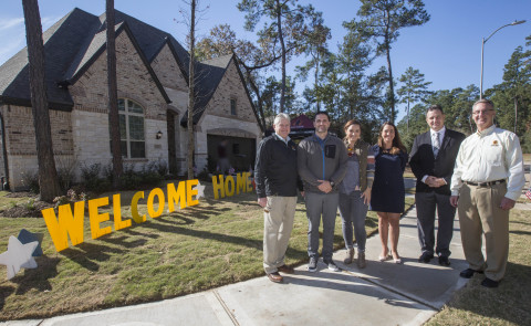 U.S. Marine veteran Michael Byrne received the keys to his new custom-built, mortgage-free home today, funded in part by a $7K grant from Texas Capital Bank and FHLB Dallas to nonprofit Operation FINALLY HOME. (Photo: Business Wire)