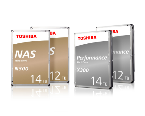 Toshiba: Artist's impresson of new 12TB and 14TB helium-sealed models in the N300 NAS and X300 Performance Hard Drive series. (Graphic: Business Wire)
