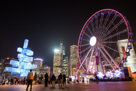 """Visitors will be treated to an eye-opening visual feast during the inaugural edition of Hong Kong Pulse Light Festival 2018, which is the largest open-air light festival in Hong Kong. From the enhancement of """"A Symphony of Lights"""" light-and-music show featuring more skyscrapers and special effects, to brilliantly lit installations by artists from across the globe, the dazzling artistic light displays ensure Asia's World City will shine brighter than ever this winter. (Photo: Business Wire)"""