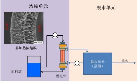 <系统概要图> 本系统运用了液体因通过膜时产生的浓度差而移动的渗透现象。 通过膜组件原液中的水分子向高浓度汲取液方向移动,从而实现了水的分离。 (图示:美国商业资讯)