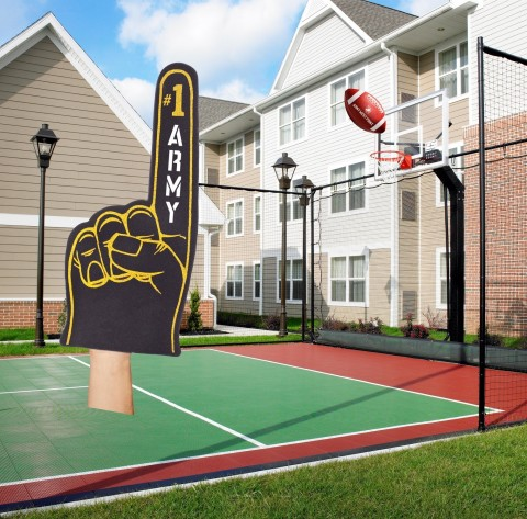 Basketball, tennis or pigskin - the hotel's sport court is game for anything. (Photo: Business Wire)