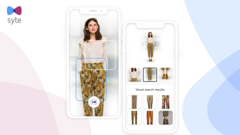 Syte's visual search camera button allows users to upload any image and shop the most visually similar in-stock options from the entire look (Photo: Business Wire)