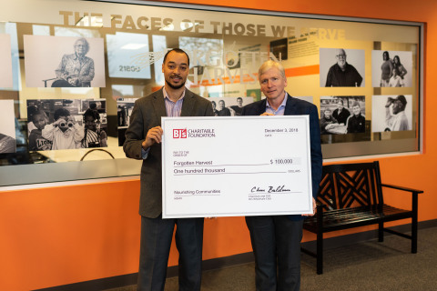 Kirk Saville, executive director, BJ's Charitable Foundation (right) presents a $100,000 donation to Kirk Mayes, CEO, Forgotten Harvest (left) in Oak Park, Michigan to help increase access to fresh food for families in Metro Detroit. (Photo: Business Wire).