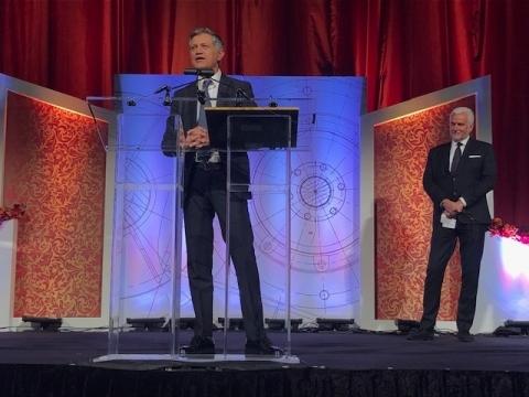 Masimo Founder and CEO Joe Kiani speaking at the 2018 IPO Education Foundation Awards Dinner (Photo: ...