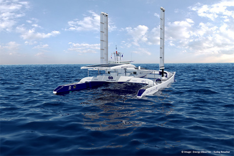 Energy Observer equipped with Oceanwings® (Photo: Business Wire)