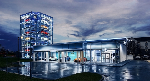 Carvana has debuted its newest Car Vending Machine, located in Indianapolis. This location is the company's 15th Car Vending Machine, standing seven stories high, holding up to 26 vehicles. (Photo: Business Wire)