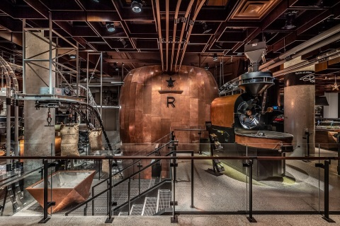 The Starbucks Reserve Roastery New York opens Friday, December 14 featuring a working coffee roasting facility and 30-foot hammered copper cask where coffee rests after roasting. (Photo: Matthew Glac Photography)