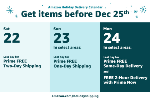 Amazon holiday delivery calendar (Graphic: Business Wire)