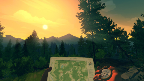 The year is 1989. You are a man named Henry who has retreated from your messy life to work as a fire lookout in the Wyoming wilderness. The Firewatch game is available Dec. 17. (Graphic: Business Wire)