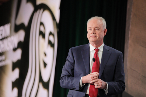 Starbucks president and chief executive officer, Kevin Johnson, details the company's strategic initiatives on stage at Starbucks 2018 Biennial Investor Conferencein New York City on December 13, 2018. (Photo: Business Wire)