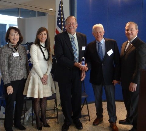 Representatives from New Jersey American Water accept a 2018 Governor's Environmental Excellence Award for Innovative Technology. Pictured here, from left: Commissioner Catherine R. McCabe, New Jersey Department of Environmental Protection (DEP); First Lady Tammy Murphy; Russell Titus, Sr. Superintendent, Water Loss Management, New Jersey American Water; Ronald Oppenheimer, Project Manager, Water Loss Management, New Jersey American Water; and David Zimmer, Executive Director, New Jersey Infrastructure Bank. (Photo: Business Wire)