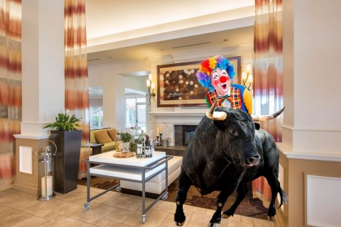 No bull: The hotel's newly renovated lobby is spacious enough for a little clowning around. (Photo: Business Wire)