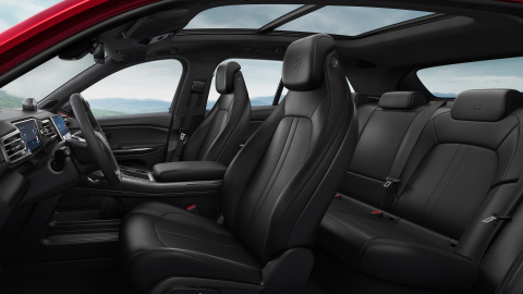 Nappa leather upholstery throughout the interior and individual bucket seats (Photo: Business Wire)