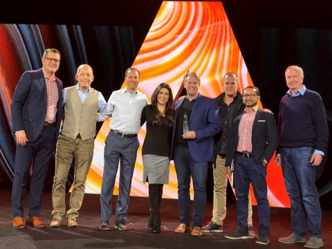 Accenture Interactive team accepts Adobe 2018 Global Digital Experience Solution Partner of the Year award in Las Vegas (Photo: Business Wire)