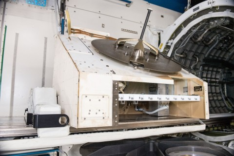 Orbital Sidekick's ISS-HEIST hyperspectral payload (silver rectangular box, right) integrated into the NanoRacks External Platform and awaiting deployment on the International Space Station. Credit: NanoRacks/NASA