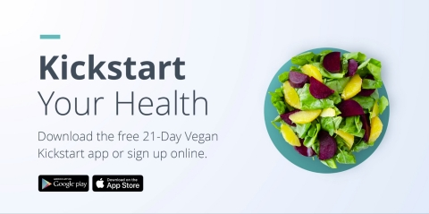 Download the free 21-Day Vegan Kickstart app or sign up online. (Photo: Business Wire)