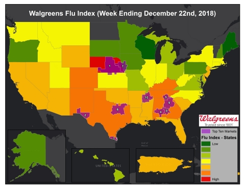 Walgreens Flu Index for week ending December 22, 2018. (Graphic: Business Wire)