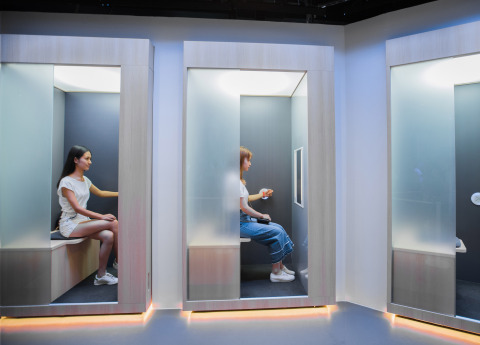 Unlike typical skin scans that require facial contact, you can analyze your skin comfortably and remotely while sitting in one of these booths in the SK-II Future X Smart Store. (Photo: Business Wire)