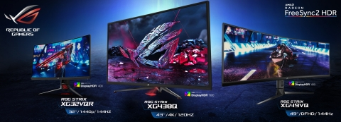 ASUS ROG Announces New Strix XG HDR Gaming Monitor Lineup: Strix XG438Q, Strix XG49VQ, and Strix XG32VQR (Graphic: Business Wire)