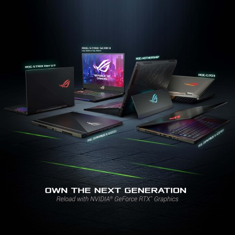 ROG G703, ROG Zephyrus S GX531, ROG Strix SCAR II, and ROG Strix Hero II are updated with new NVIDIA GeForce RTX graphic options (Graphic: Business Wire)