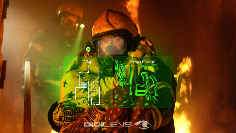 Helmet-mounted thermal vision gives firefighters their hands back. DigiLens Crystal replaces the respirator-mounted display with smartglasses, preventing fatal distractions by relaying smartphone based information such as audio and video communication, tactical video recording, hot and cold spot tracking, maps and floorplans. (Photo: Business Wire)