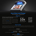 UV Angel Aura Clean & Charge from UV Partners simultaneously disinfects a mobile phone while charging wirelessly.