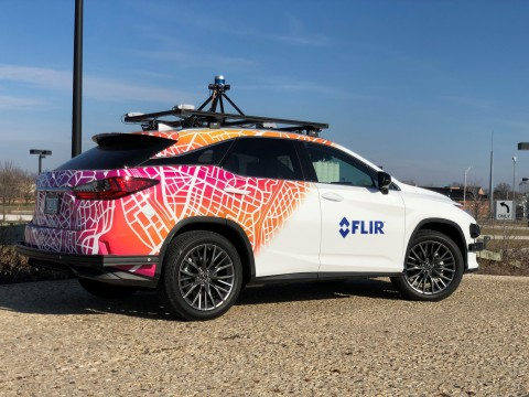 The FLIR thermal camera-equipped commercial test vehicle features multiple FLIR ADK cameras that will provide a 360-degree street view. The car demonstrates the ADK's integration capabilities with radar, LIDAR, and visible cameras found on autonomous test vehicles today. (Photo: Business Wire)