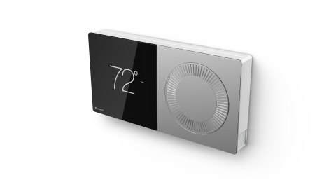 The Daikin One+ smart thermostat offers the best of both analog and digital worlds. A double square structure pairs a sophisticated high-resolution digital color touch screen on the left side with the proven functionality of a classic analog dial control on the right side. (Photo: Business Wire)