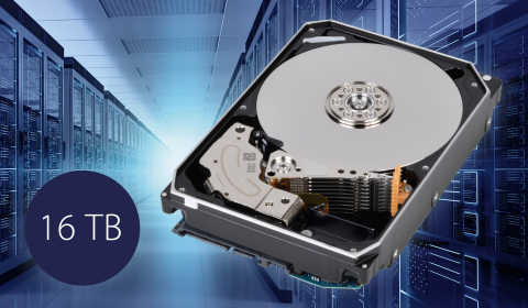 Toshiba: 16TB MG08 series hard disk drives, the industry's largest capacity Conventional Magnetic Recording (CMR) HDD (Artist's impression) (Graphic: Business Wire)