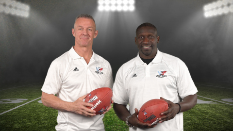 Merril Hoge (left) and Solomon Wilcots (right) will serve as the head coaches for YCF's second series. (Photo: Business Wire)