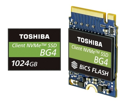 Toshiba Memory America's BG4 series – a new lineup of ultra-compact, single-package NVMe SSDs – brings flexibility to the design of ultra-thin notebooks, embedded systems and boot storage applications for servers and data centers. The BG4 series leverages the company's innovative 96-layer BiCS FLASH. (Photo: Business Wire)