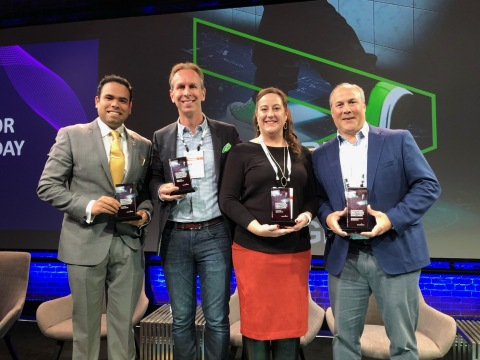 The 2019 Accenture HealthTech Innovation Challenge awards from left: Mutlisensor Diagnostics receivi ...