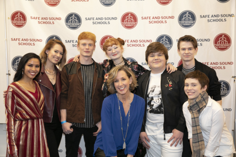Azia Celestino, Chasing DaVinci, Michele Gay, Jeremy Ray Taylor and Sophia Lillis at Safe and Sound School's New Year, New Sound event, Jan. 4, 2019. (Photo: Business Wire)