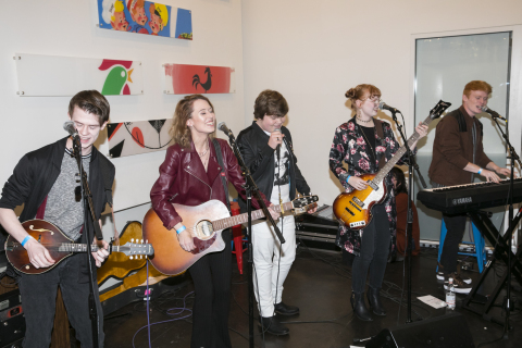 """Jeremy Ray Taylor joins Chasing DaVinci to debut the original song """"Good Days"""" at Safe and Sound School's New Year, New Sound event, Jan. 4, 2019. (Photo: Business Wire)"""